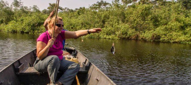 Pescando piranha no Pantanal, Brasil